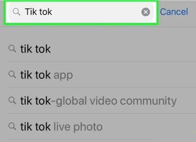 جستجو برای اپلیکیشن تیک توک