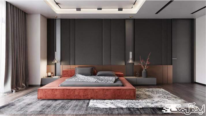 اتاق خواب مدرن با رنگ های خنثی