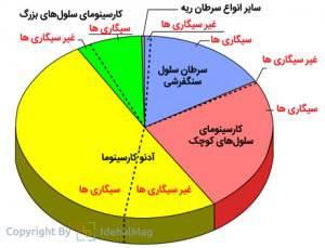 نسبت انواع سرطان ریه