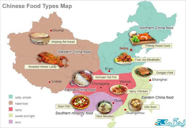 نقشه غذاهای چینی