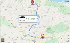 فاصله کلاردشت تا تهران