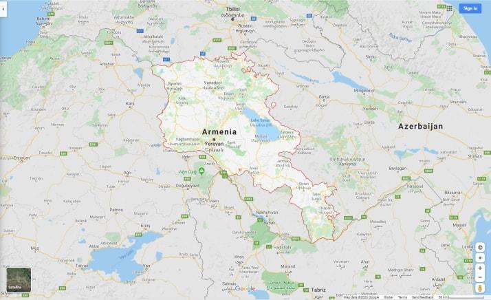 نقشه کشور ارمنستان
