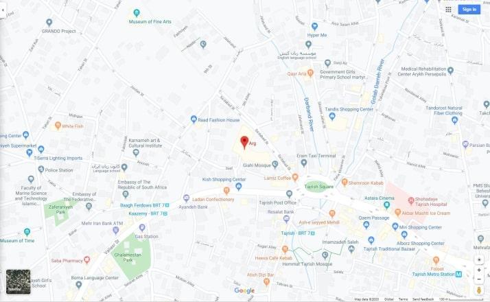 نقشه مرکز خرید ارگ تجریش