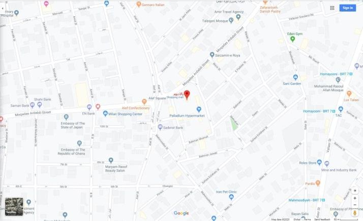 نقشه مرکز خرید پالایدیوم