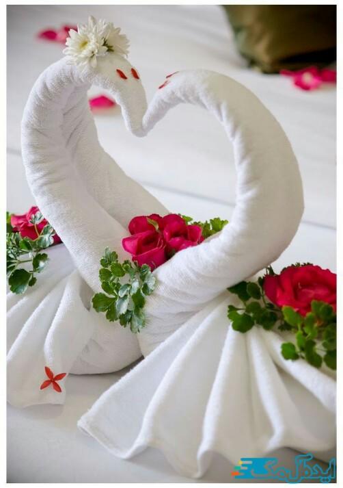 قوهای عاشق برای دیزاین اتاق خواب عروس و داماد