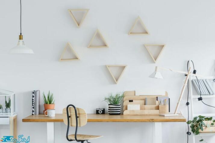قفسه مثلثی کاردستی برای تزئین اتاق خواب