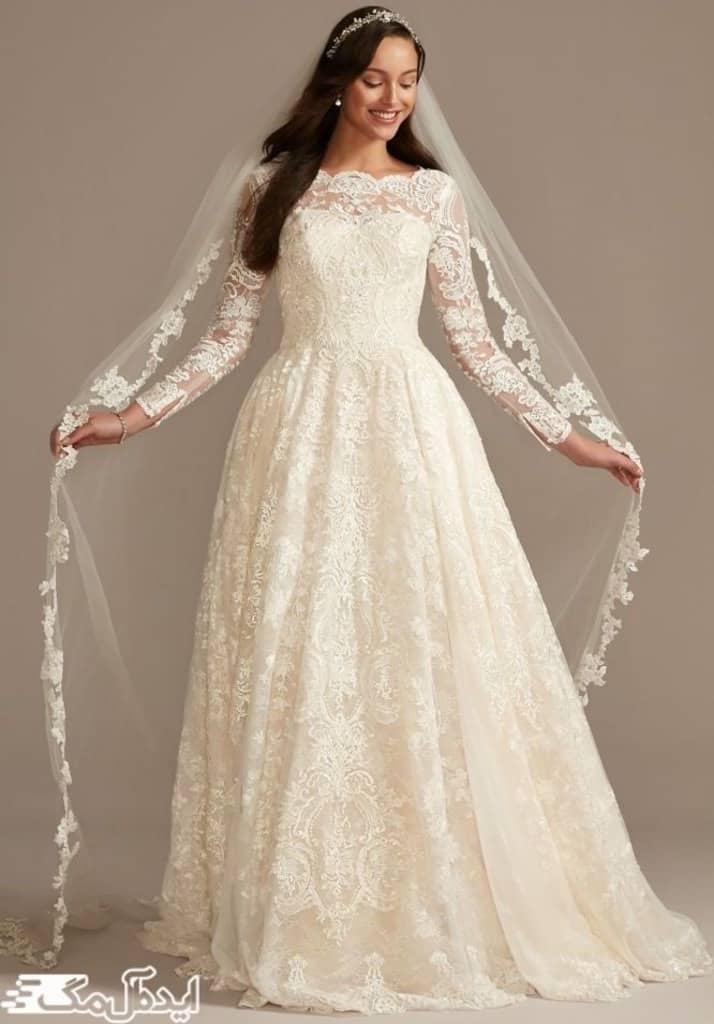 مدل لباس عروس دانتل آستین دار