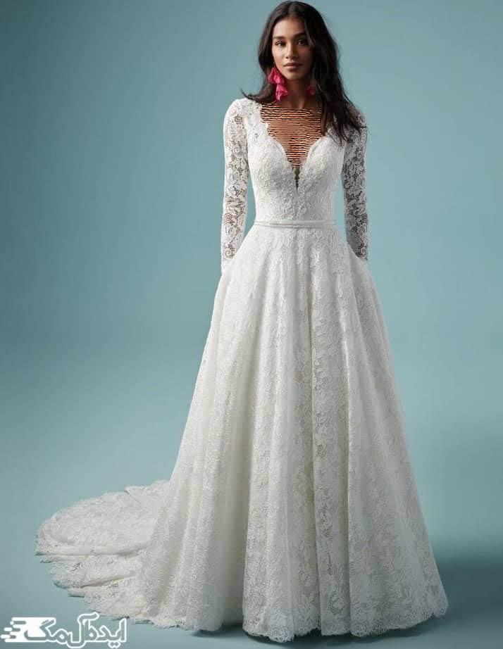 مدل لباس عروس آستین دار با آستین های پوشیده