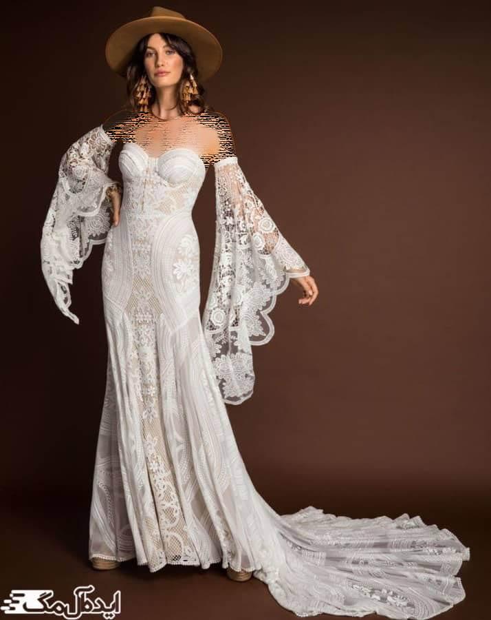 مدل لباس عروس با آستین بلند و برش سینه