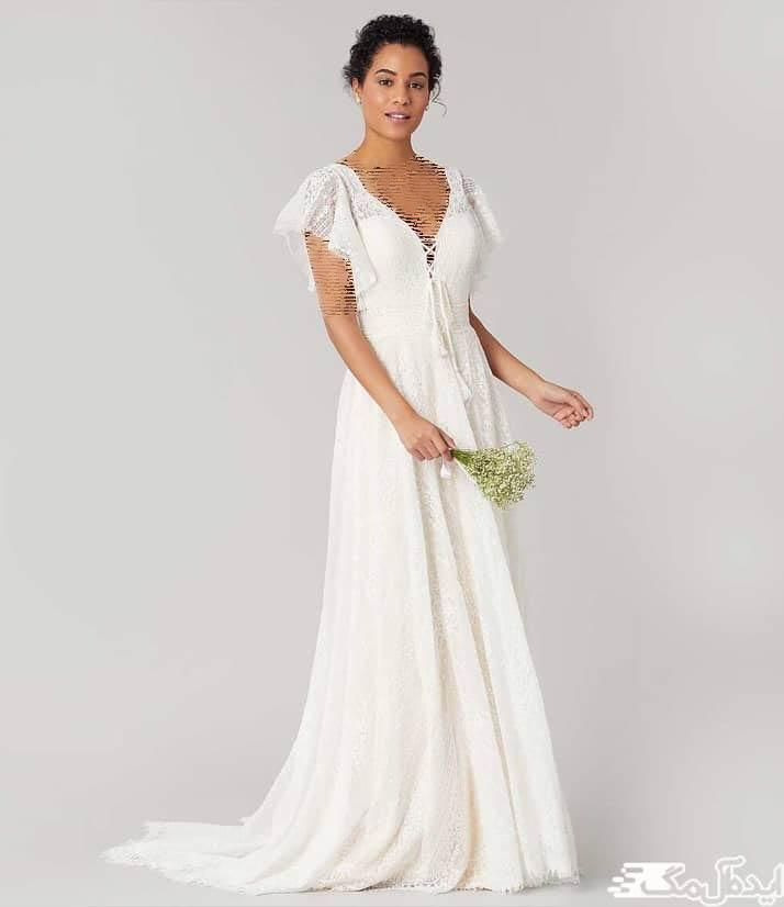 مدل لباس عروس بوهو با آستیبن های کوتاه