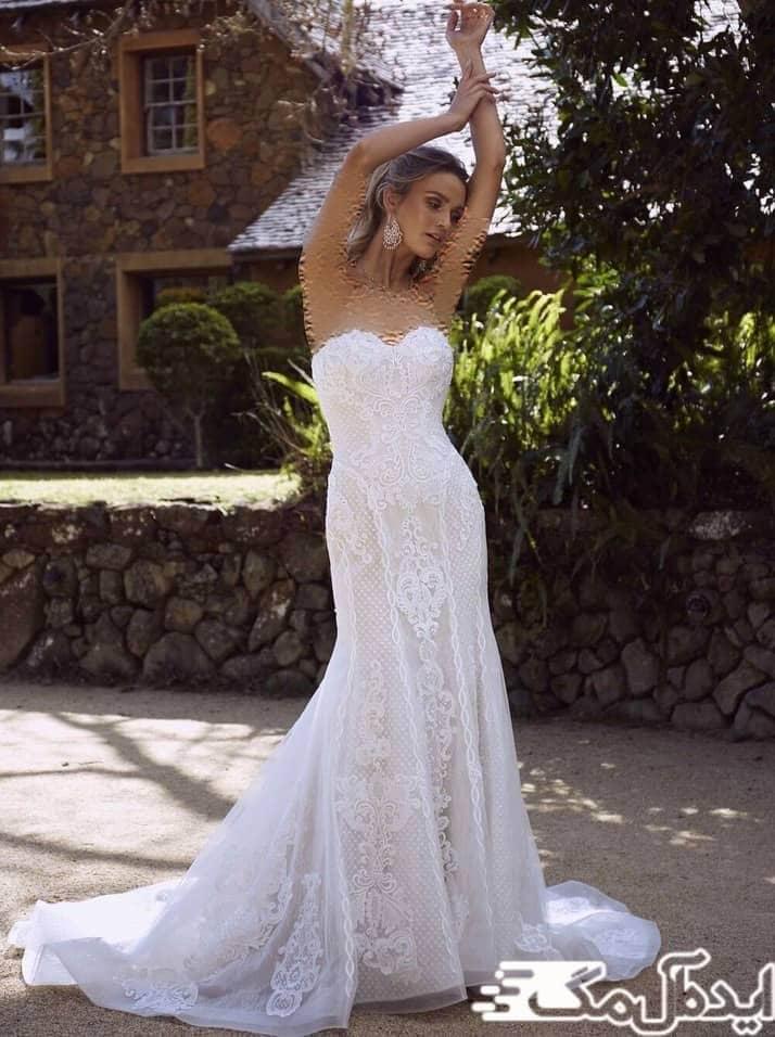 مدل لباس عروس دکلته دانتل