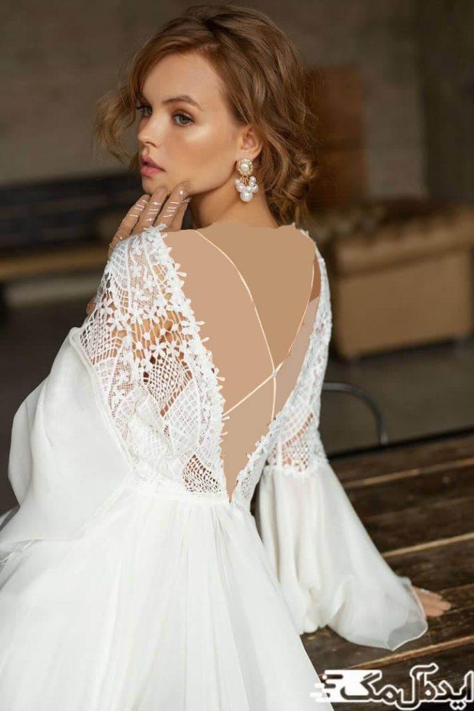 مدل لباس عروس پشت باز دانتل