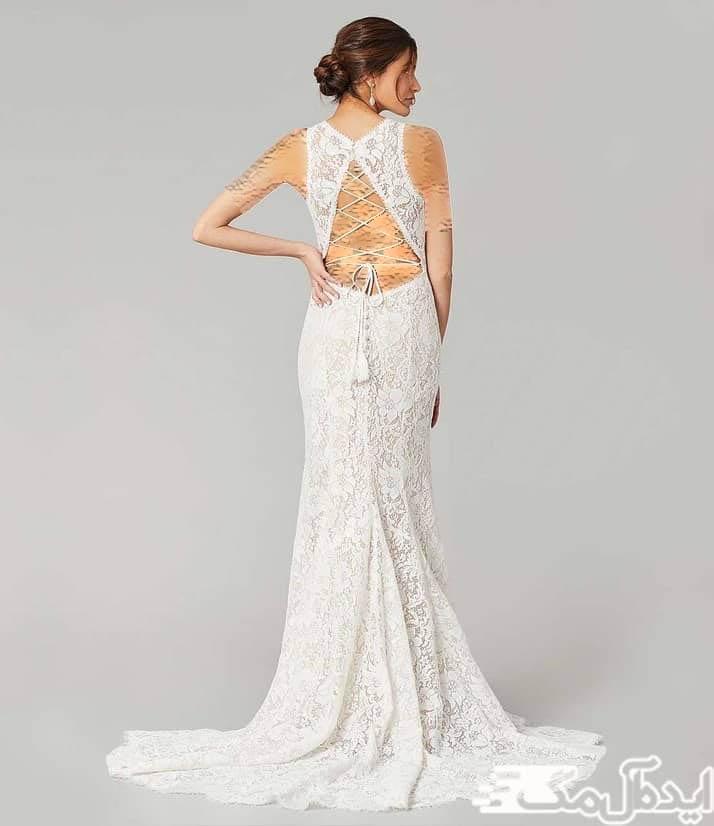 لباس عروس دانتل با طرح ساده در جلو