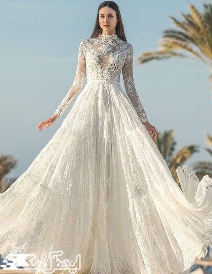 مدل لباس عروس دانتل یقه دار