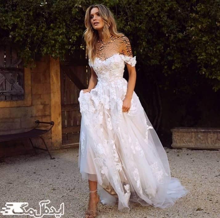 مدل لباس عروس یقه دلبری