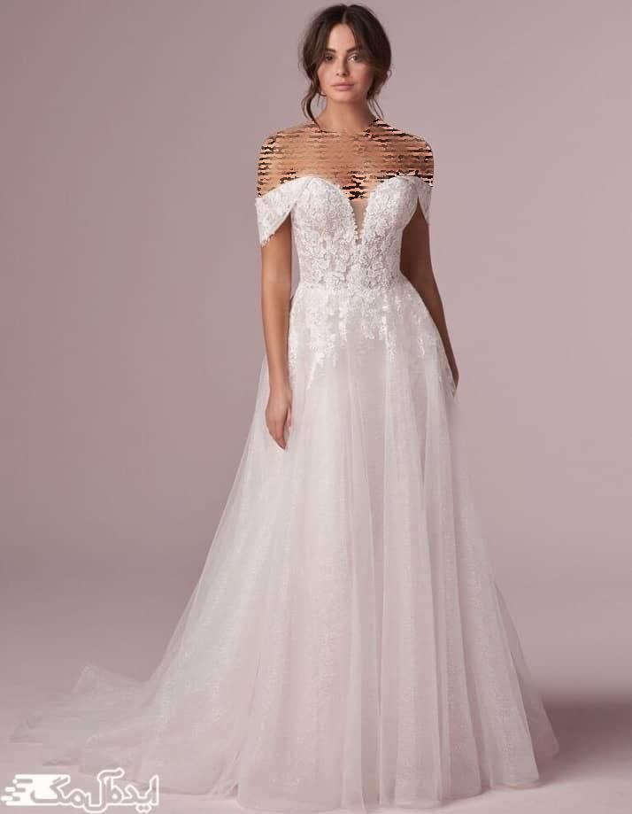 مدل لباس عروس یقه دلبری با یک آستین ظریف