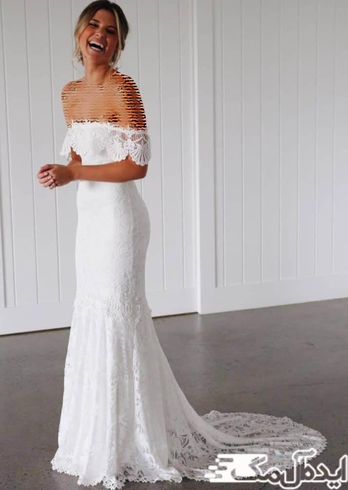 مدل لباس عروس یقه دلبری برای فصل گرما مناسب است