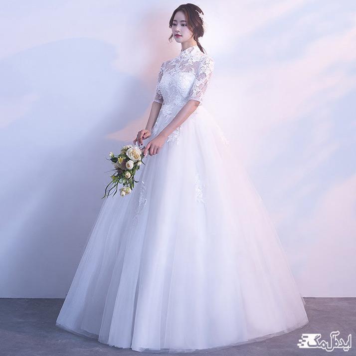 لباس عروس نیمه آستین دار