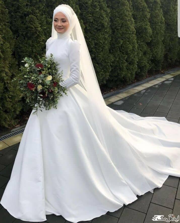 لباس عروس با حجاب ساده و شیک