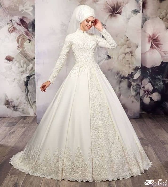 لباس عروس با آستین و کلاه