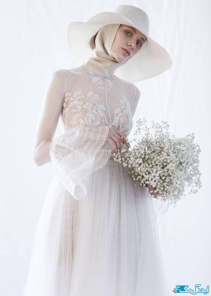 لباس عروس محجبه کلاه دار