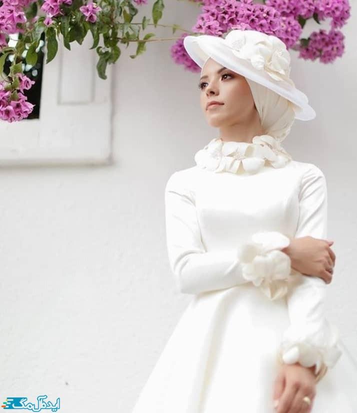 مدل لباس عروس محجبه با کلاه