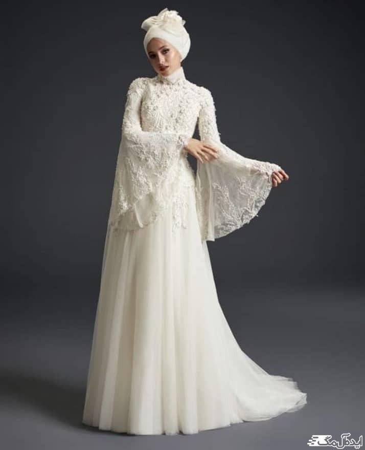 لباس عروس پوشیده با کلاه