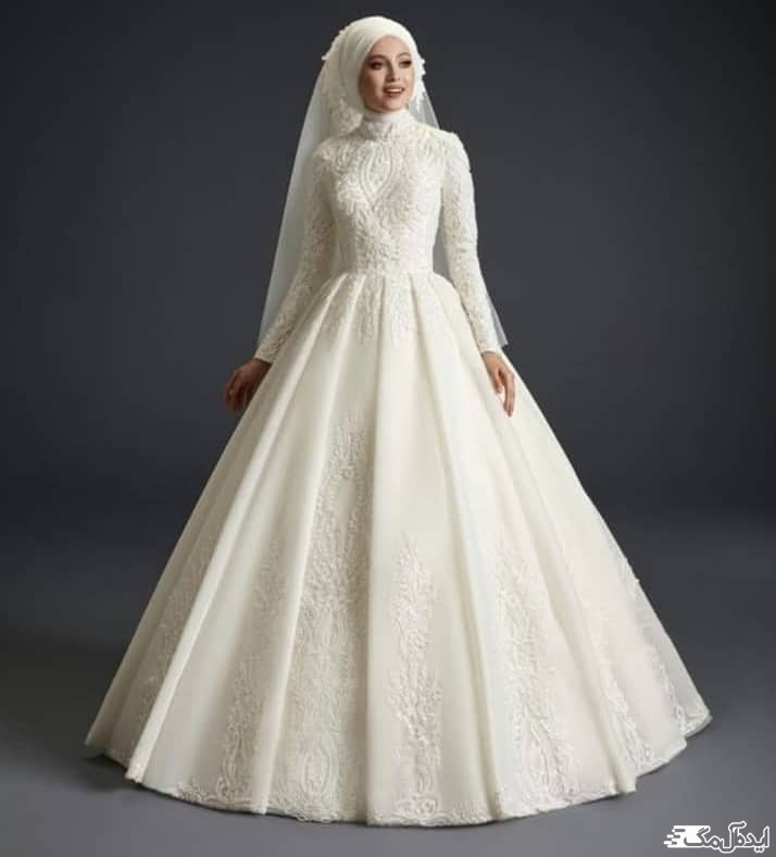 مدل لباس عروس پوشیده و شیک