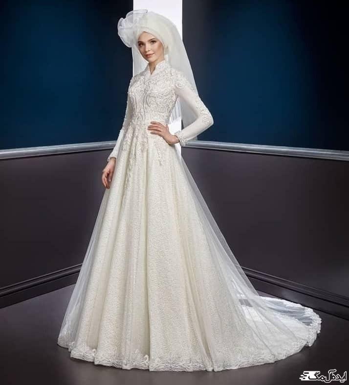مدل لباس عروس پوشیده با کلاه