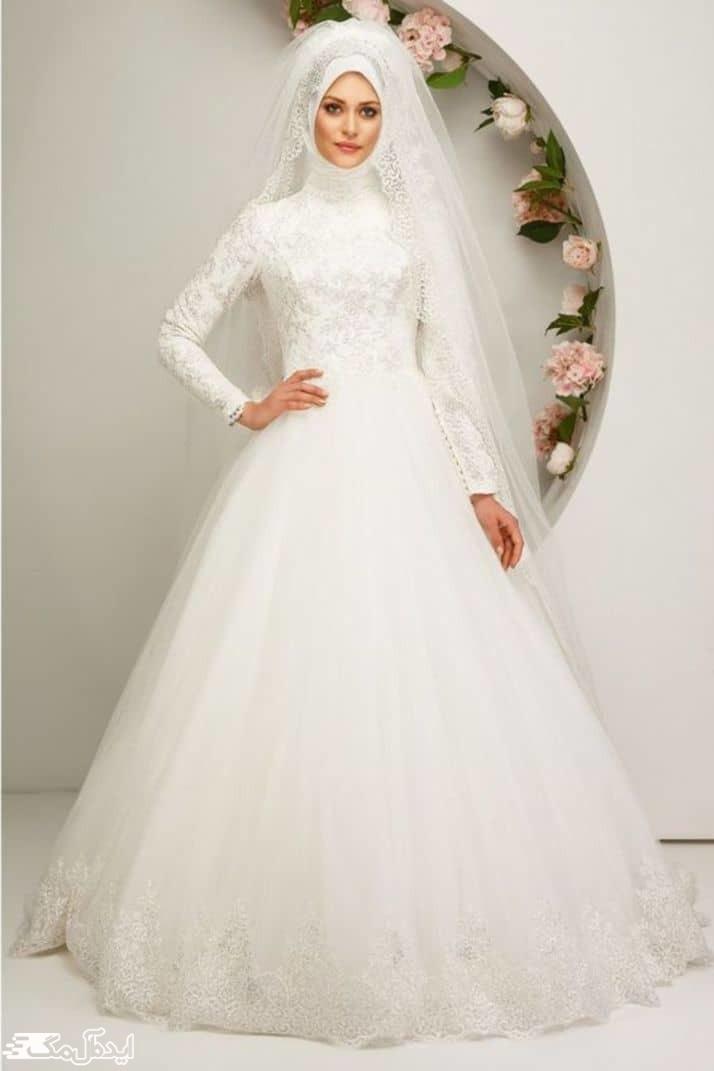 لباس عروس پوشیده آستین بلند