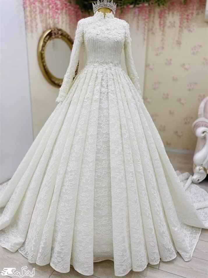 لباس عروس محجبه دامن چین دار