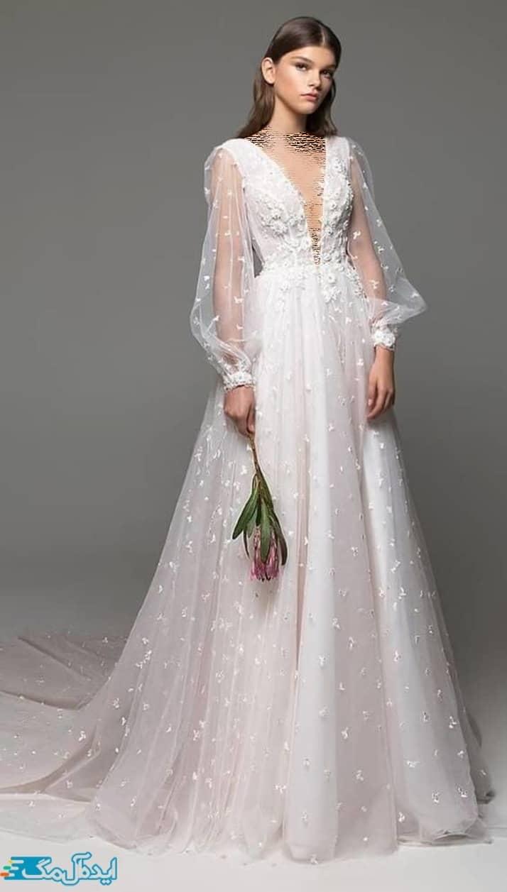 لباس عروس آستین دار فانتزی