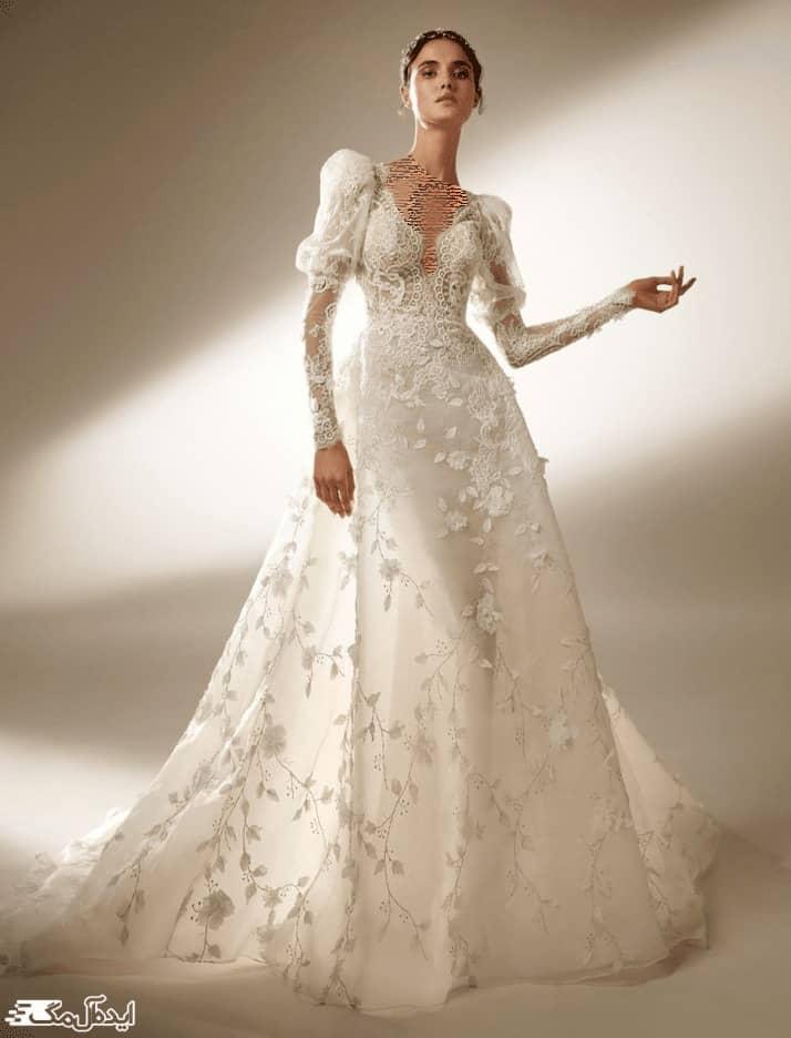 لباس عروس فانتزی با آستین پفی