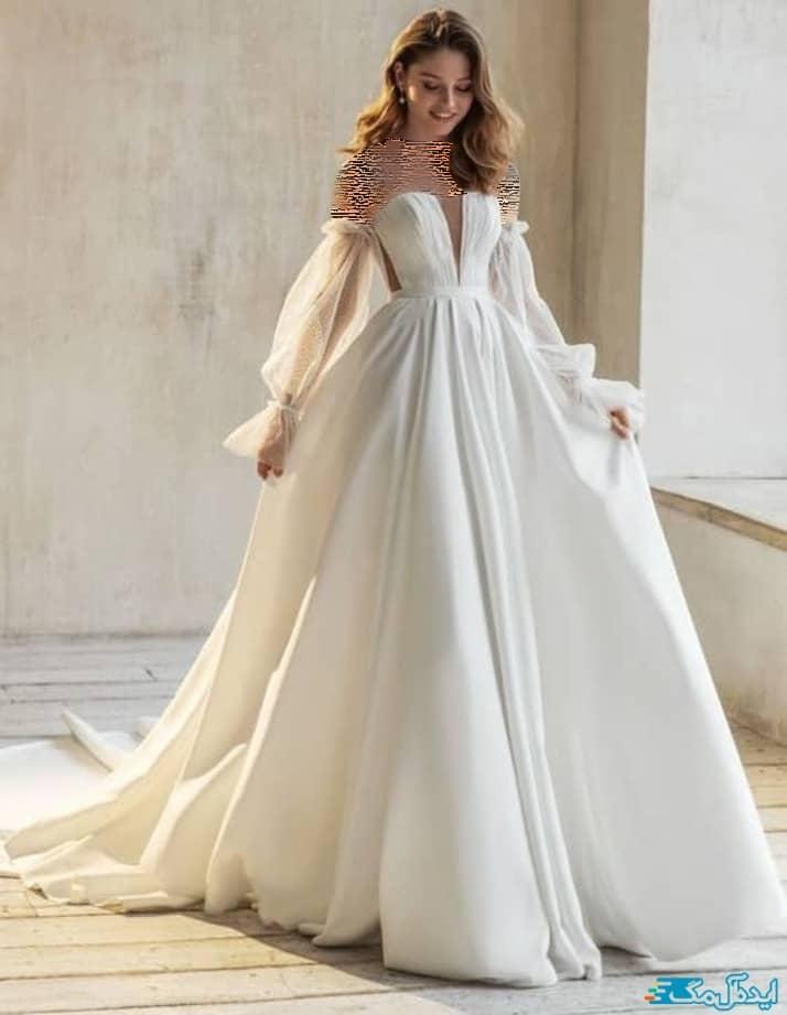 لباس عروس آستین دار شیک و جدید