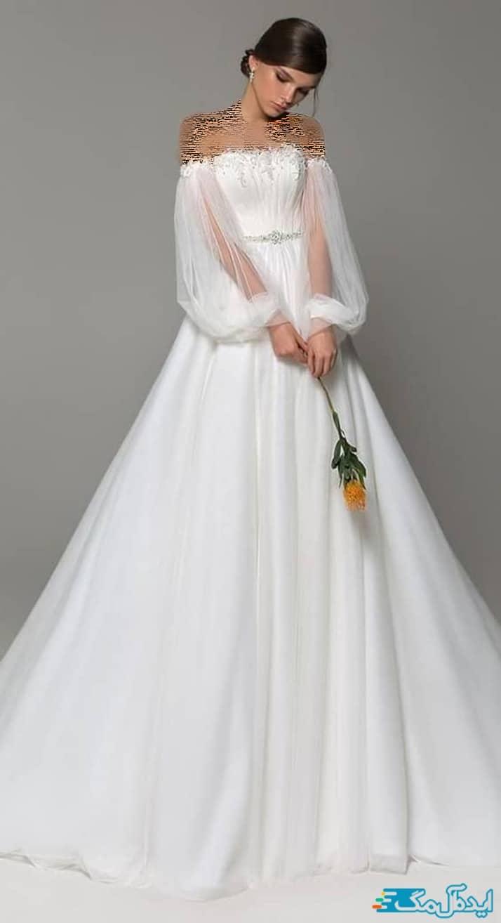 لباس عروس دکلته آستین دار