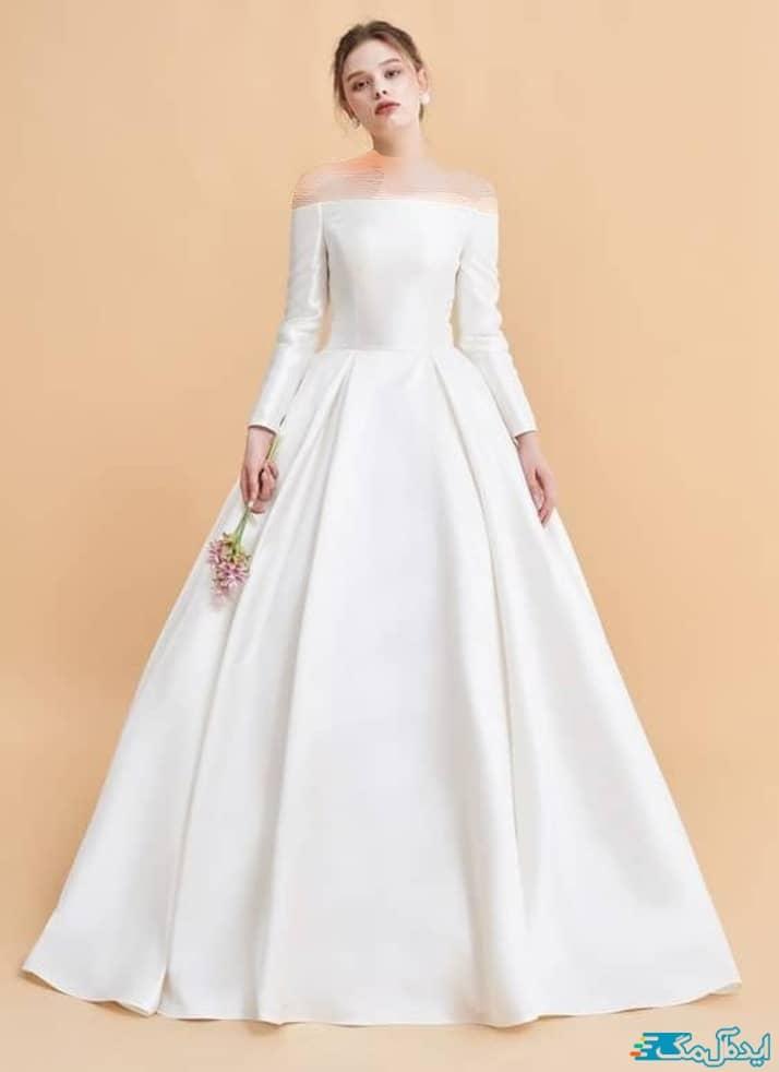 لباس عروس یقه قایقی شیک و ساده
