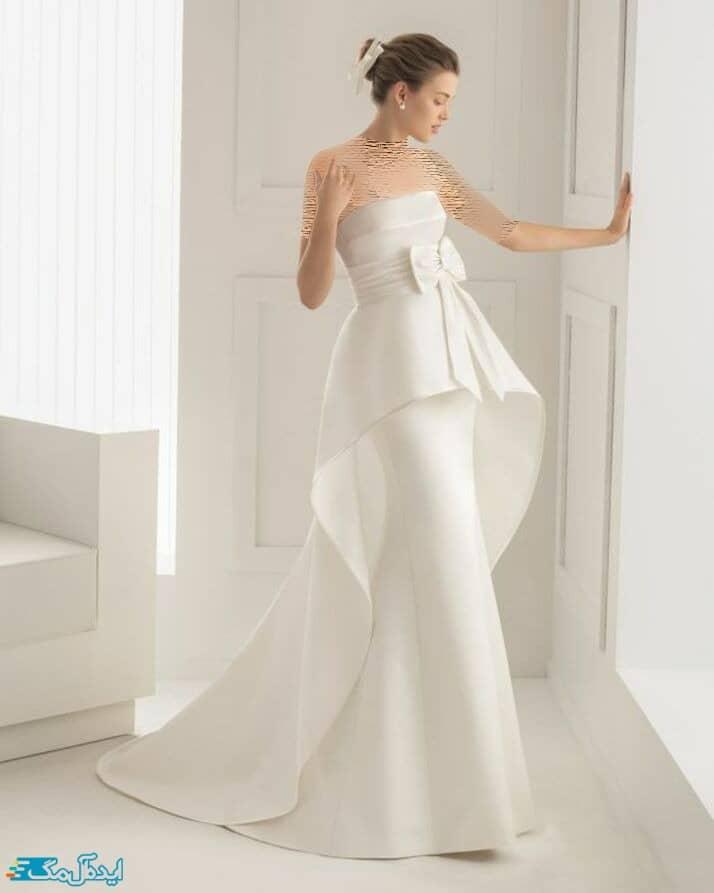 لباس عروس با دامن دنباله دار