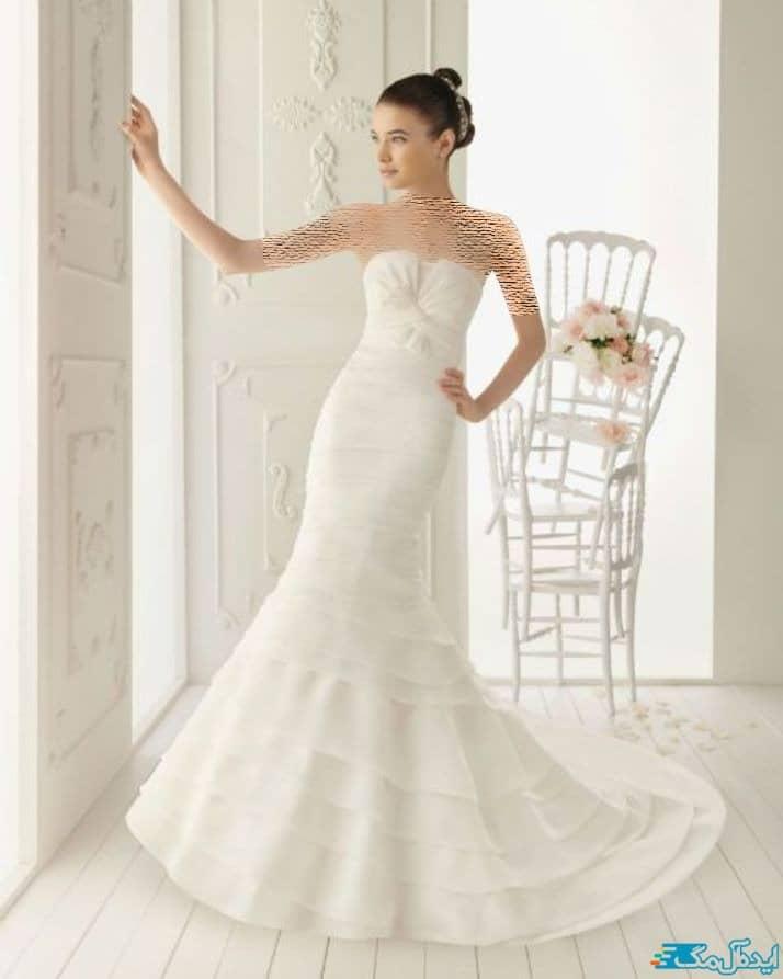 لباس عروس دکلته با دامن ماهی