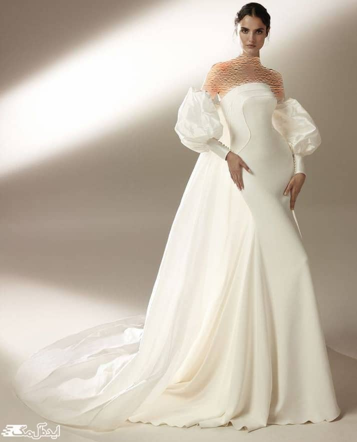 مدل لباس عروس با آستین فانوسی