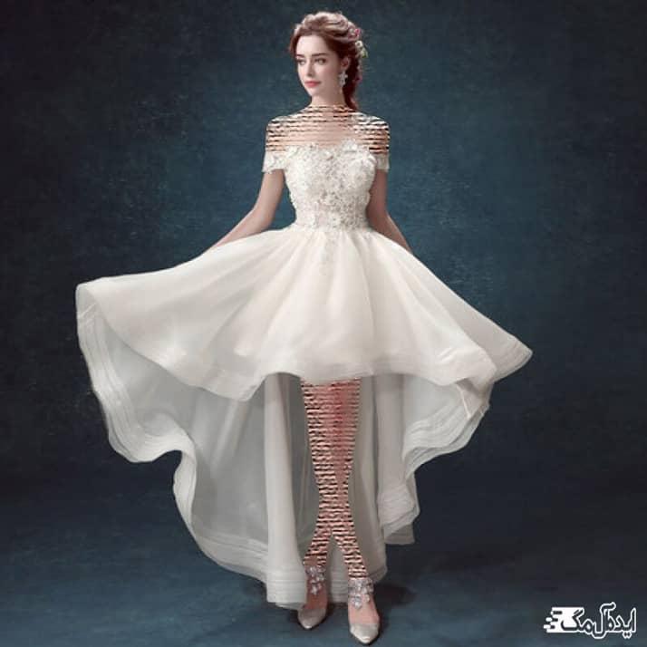 لباس عروس فانتزی با دامن کوتاه