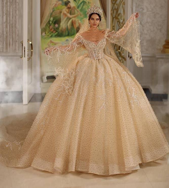 مدل لباس عروسی پفی عربی به رنگ نباتی
