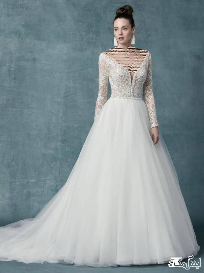 مدل لباس عروس توری دنباله دار