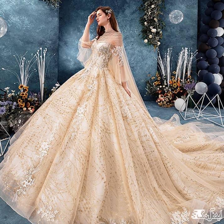 مدل لباس عروس دانتل با دامن پفی