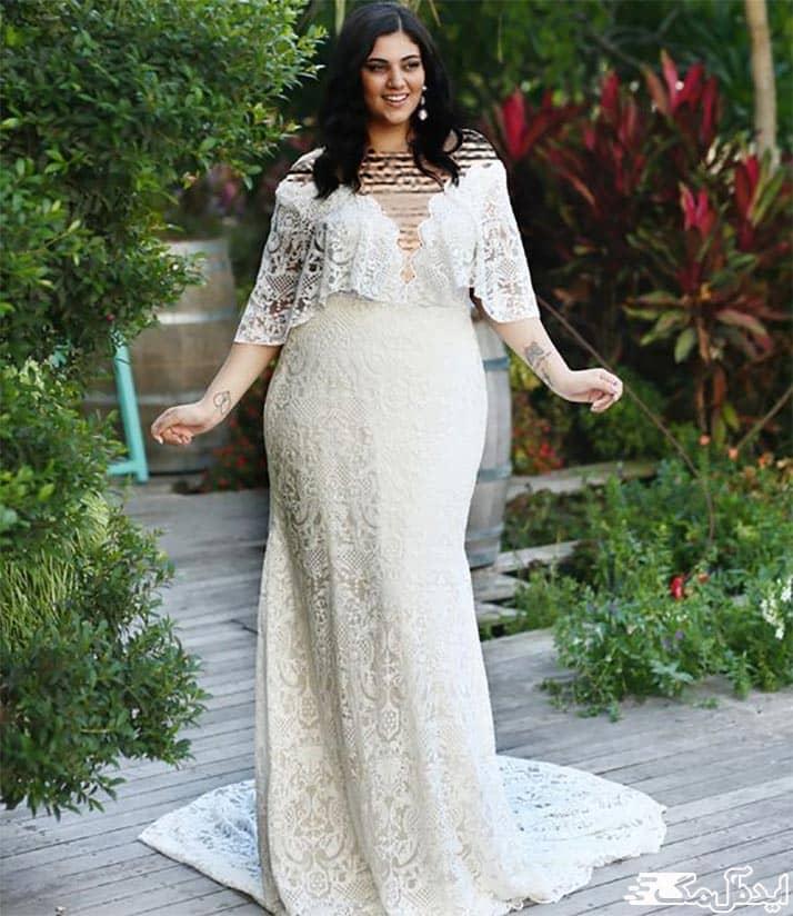 لباس عروس دانتل شیک برای عقد