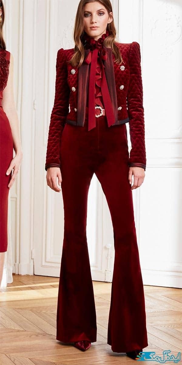 مدل کت و شلوار زنانه مخمل قرمز