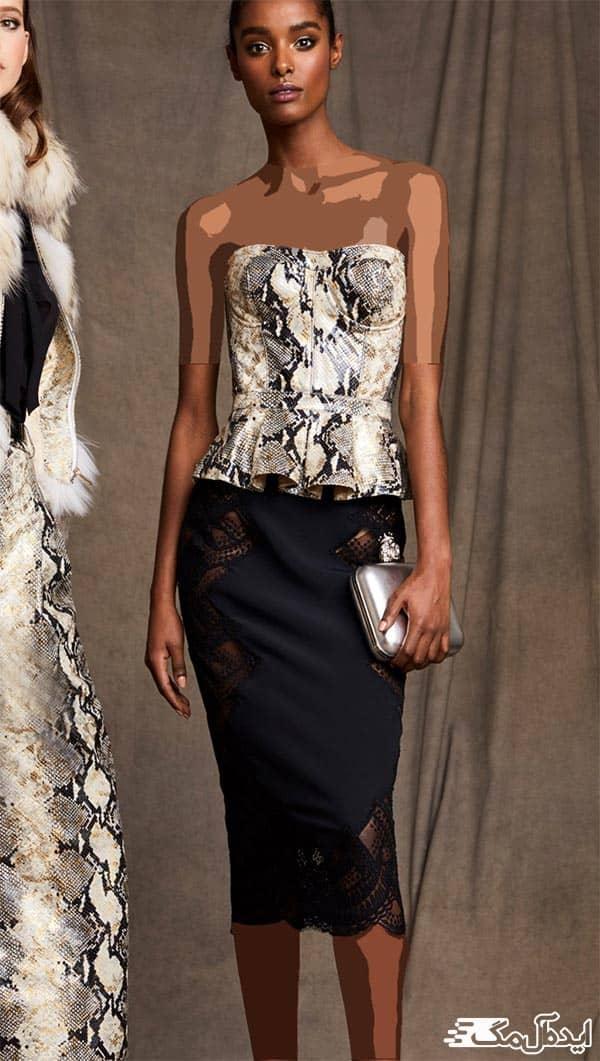 مدل بلوز دکلته زنانه با دامن