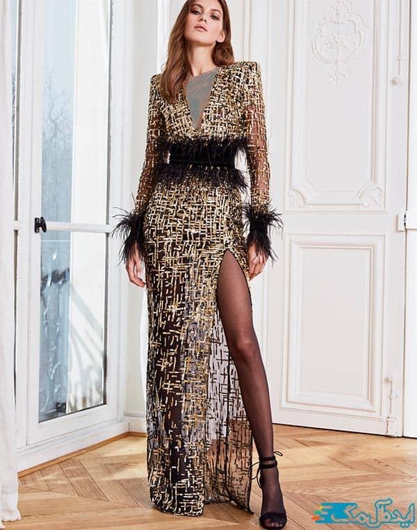 مدل لباس شب بلند با دامن چاک دار