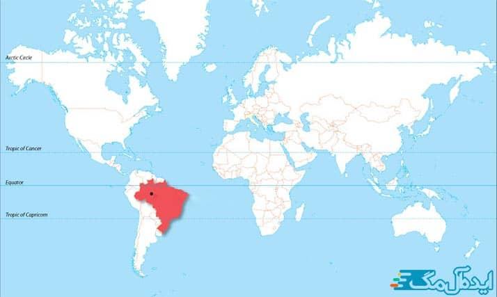 موقعیت مکانی جنگل آمازون در کره زمین
