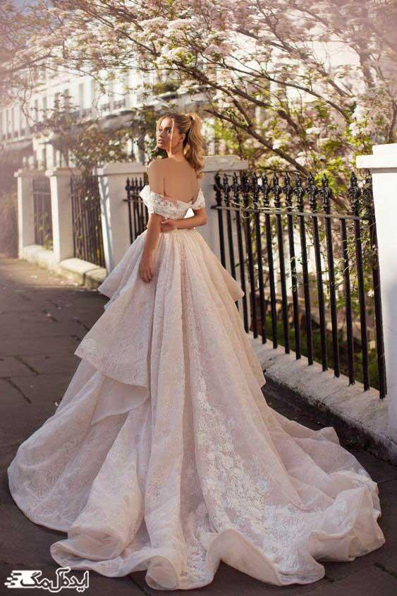 لباس عروس پرنسسی پفی با دامن بلند