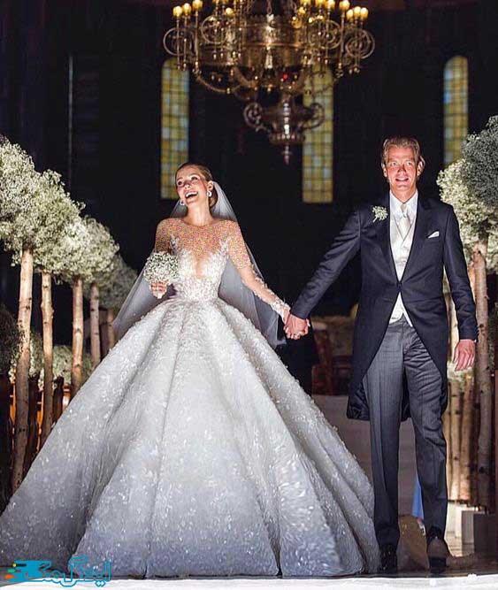 مدل لباس عروس پرنسسی پفی با آستین بلند
